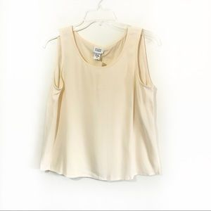 Eileen Fisher silk Georgette crepe cream top New